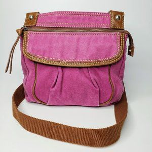 Fossil Leather Trim Crossbody Messenger Bag